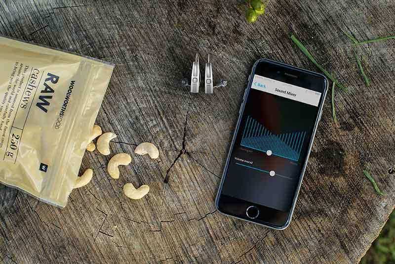 Widex Beyond iPhone app for hearing aids screenshot at tree stump