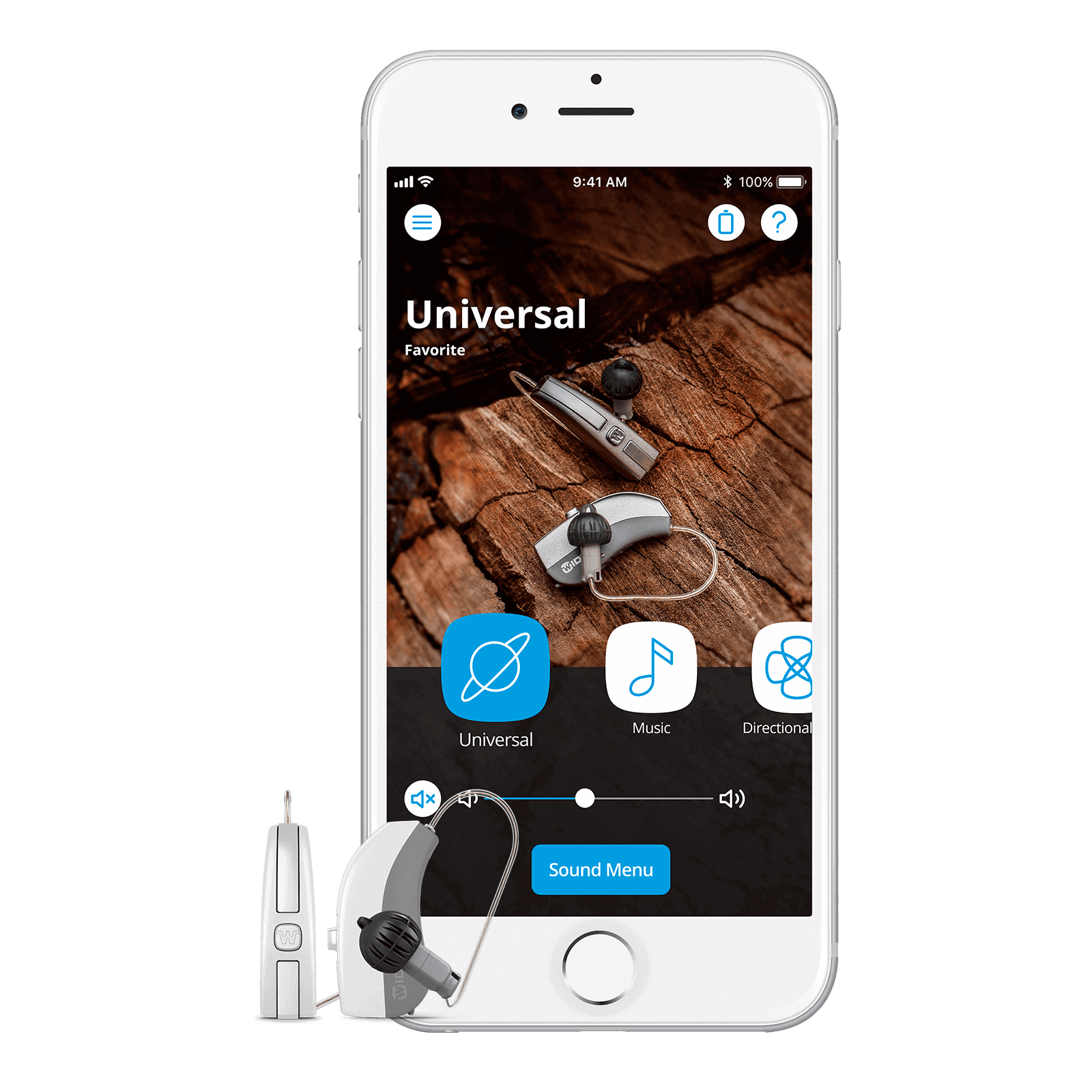 Image of Evoke hearing aids and iPhone App